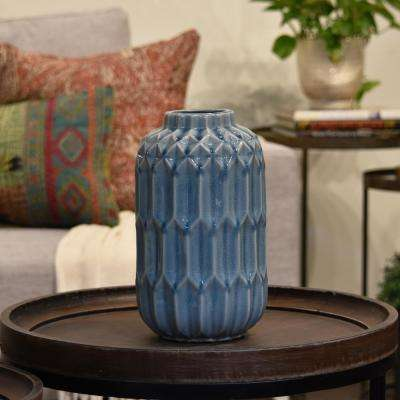 Blue Coated Washed Ceramic Decorative Vase