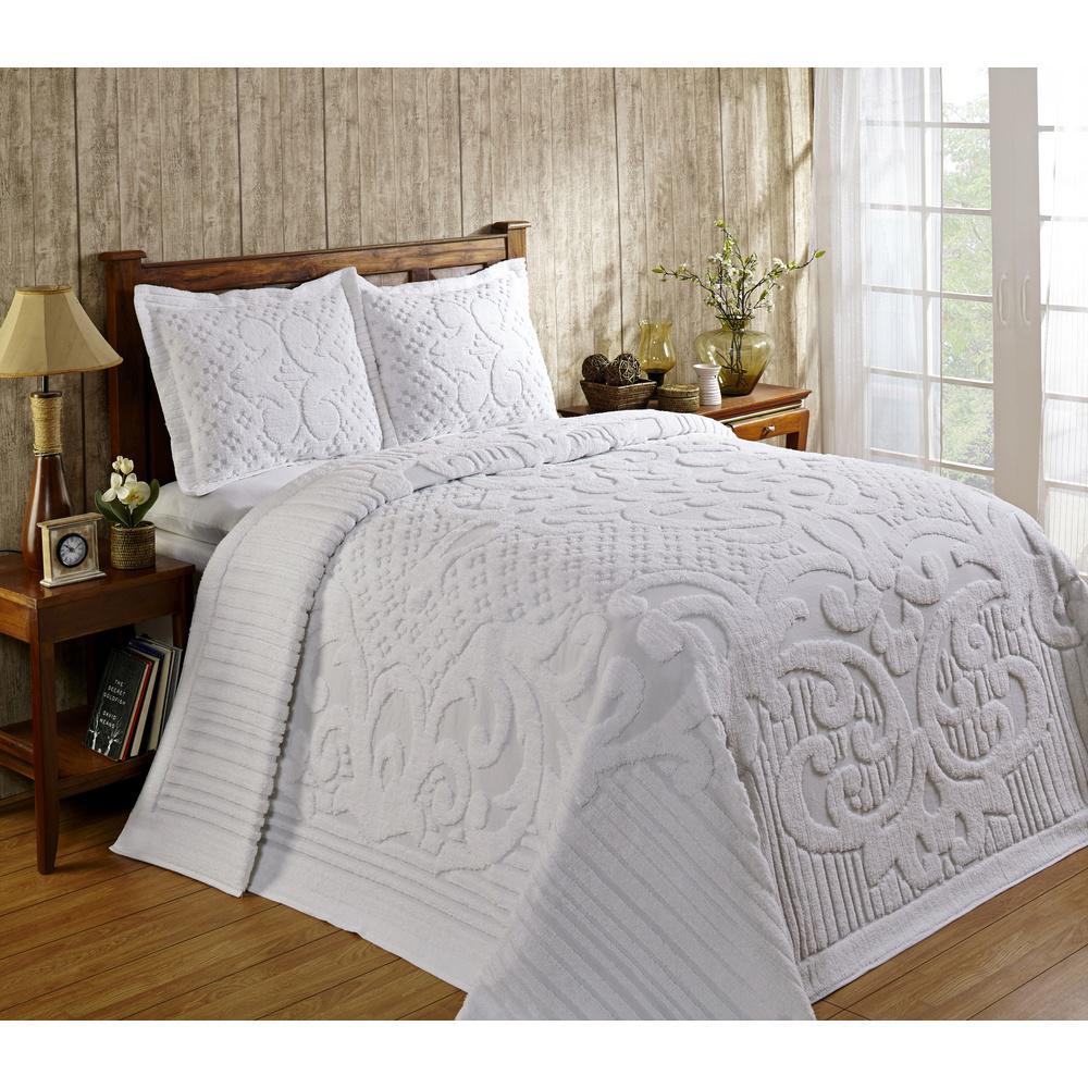Better Trends Ashton 1-Piece White Twin Bedspread