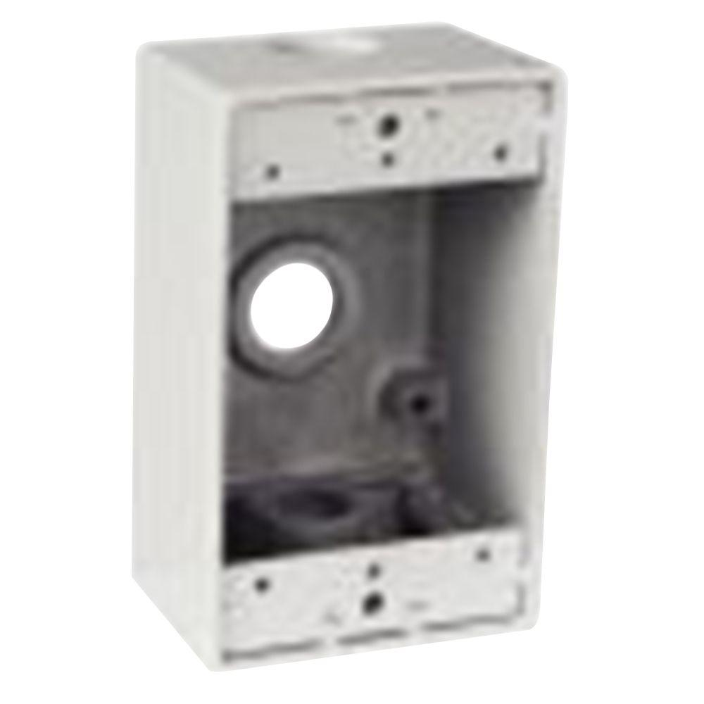 1-Gang Rectangular Junction Box with 3 1/2 in. Holes -White (Case