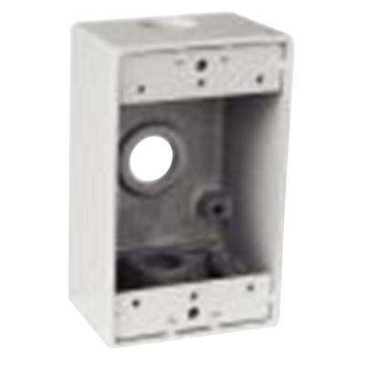 1-Gang Rectangular Junction Box with 3 1/2 in. Holes -White (Case of 16)
