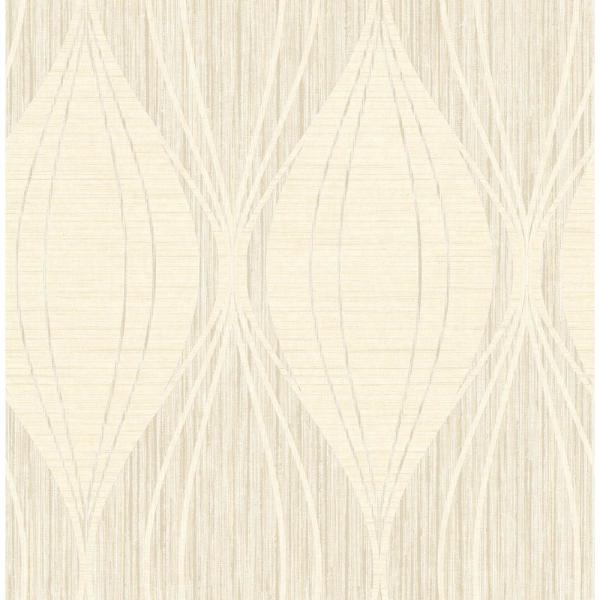 Seabrook Designs Canary Metallic Silver and Off-White Ogee Wallpaper GL30508