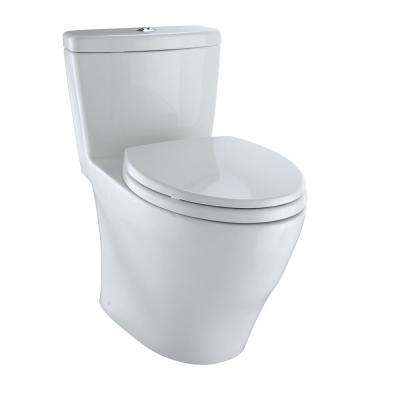Aquia 1-Piece Elongated 0.9/1.6 GPF Dual Flush Skirted Toilet in Colonial White