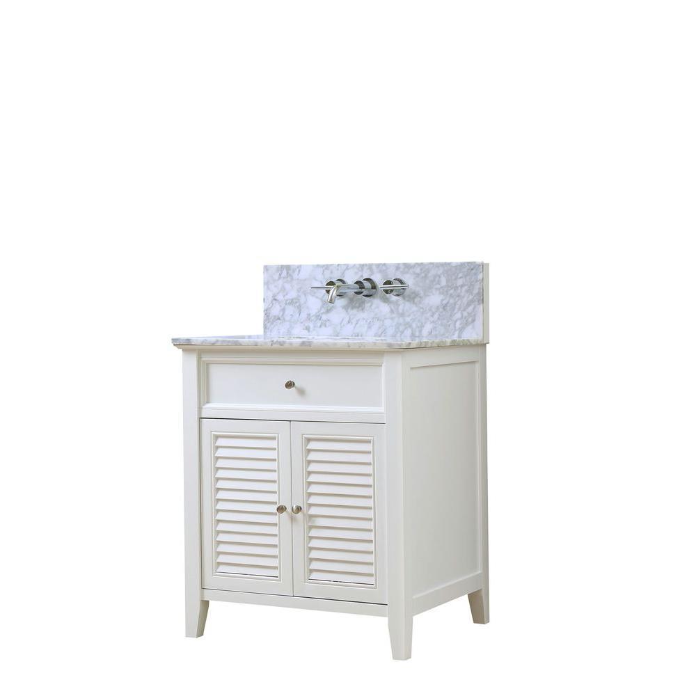 Direct vanity sink Shutter Premium 32 in. Vanity in White with Marble Vanity Top in White Carrara with Basin