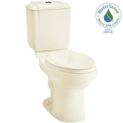 Rockton 2-piece 0.8 or 1.6 GPF Dual Flush Elongated Toilet in Biscuit