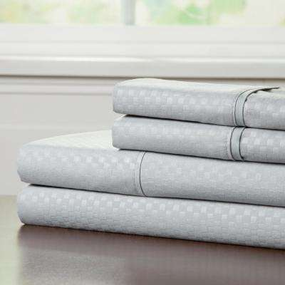 Embossed 4-Piece Platinum 90 GSM Microfiber Queen Sheet Set