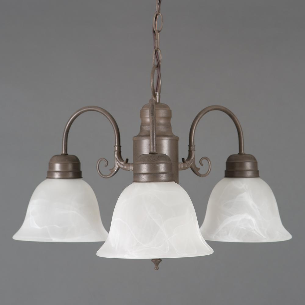 Yosemite home decor brown chandeliers lighting the home depot manzanita 3 light dark brown hanging chandelier with frosted marble glass shade aloadofball Gallery