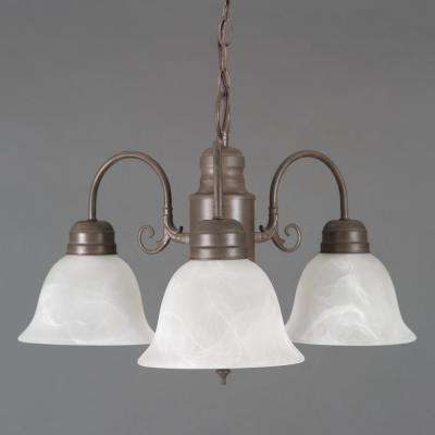 Manzanita 3-Light Dark Brown Hanging Chandelier with Frosted Marble Glass Shade