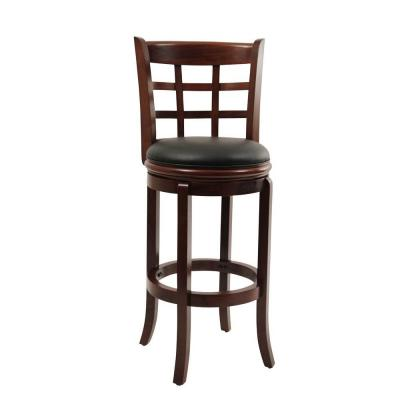 Kyoto 29 in. Cherry Swivel Cushioned Bar Stool