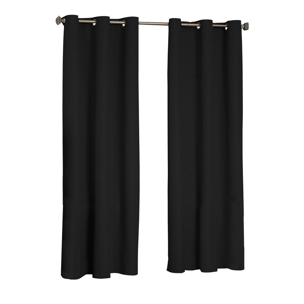 Eclipse Microfiber Blackout Window Curtain Panel in Black - 42 in. W x 95 in. L