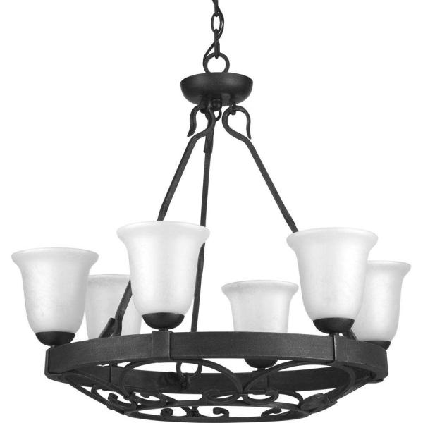 Enclave Collection 6-Light Gilded Iron Chandelier with Textured Glass Shade