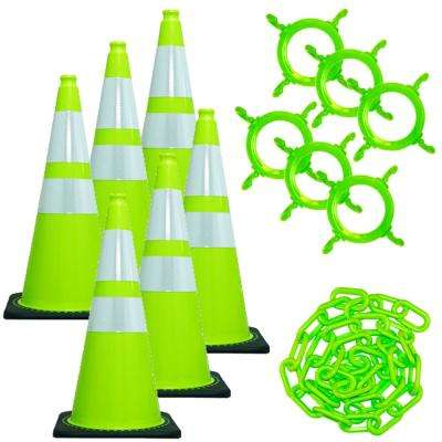 28 in. Green Reflective Cone and Chain Kit Safety