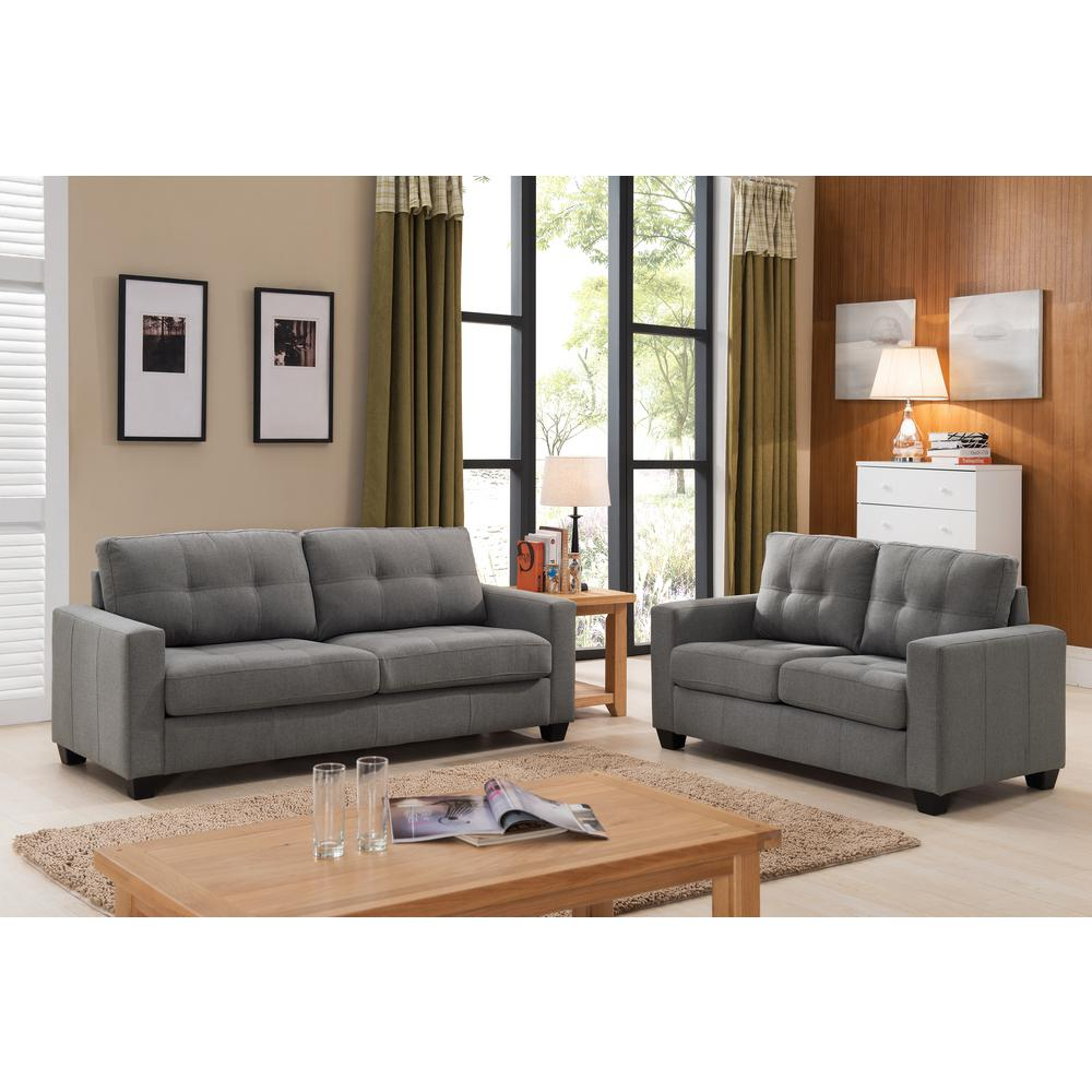 null tanya modern 2piece grey tufted sofa and loveseat set