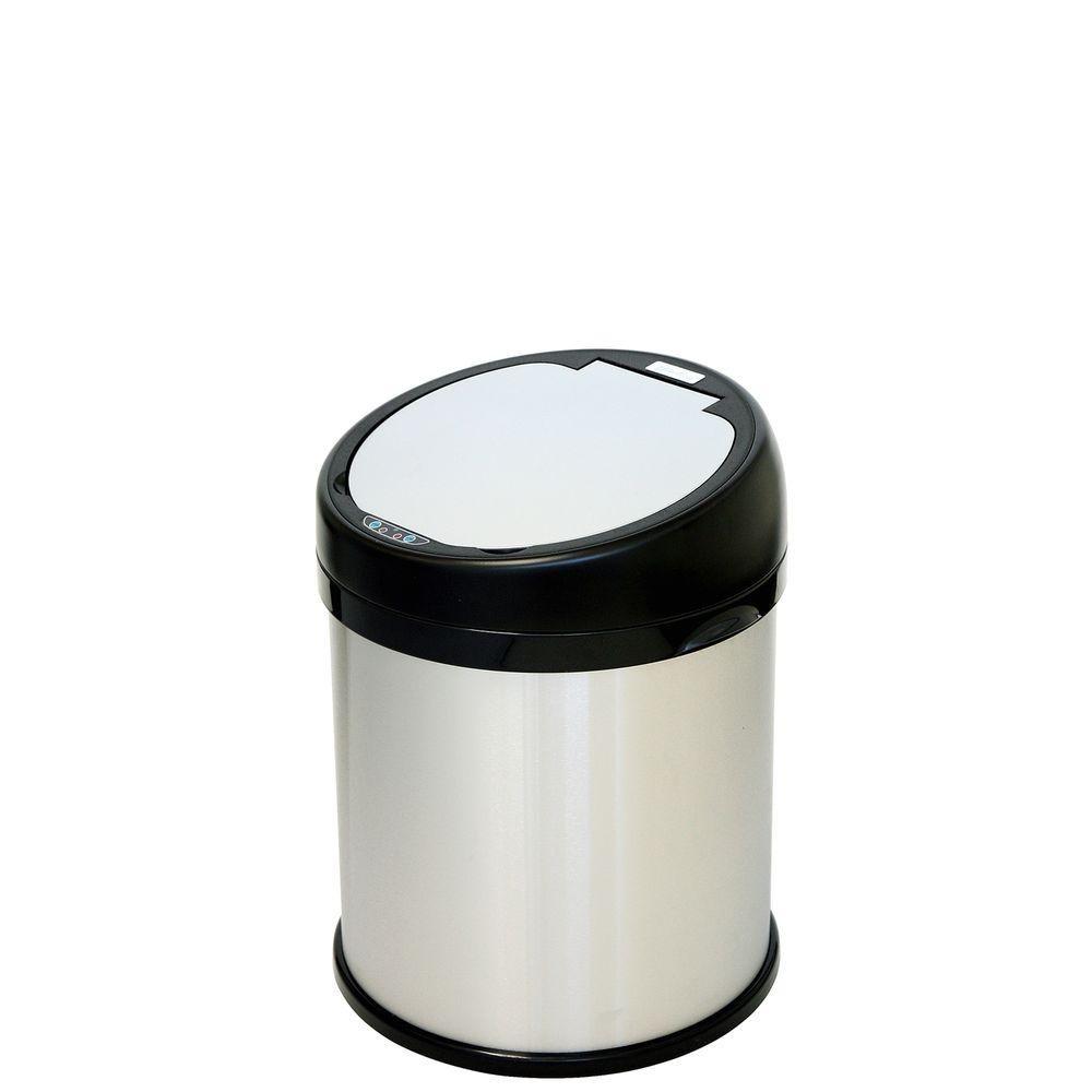 iTouchless 8 Gal. Stainless Steel Round Extra-Wide Opening Motion Sensing Touchless Trash Can