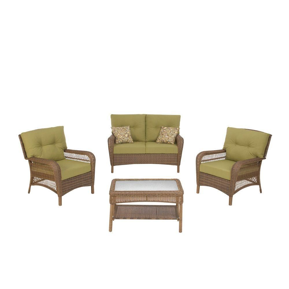 Charlottetown Brown 4 Piece All Weather Wicker Patio Seating Set With Green  Cushions