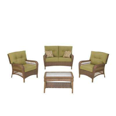 Charlottetown Brown 4-Piece All-Weather Wicker Patio Seating Set with Green Cushions