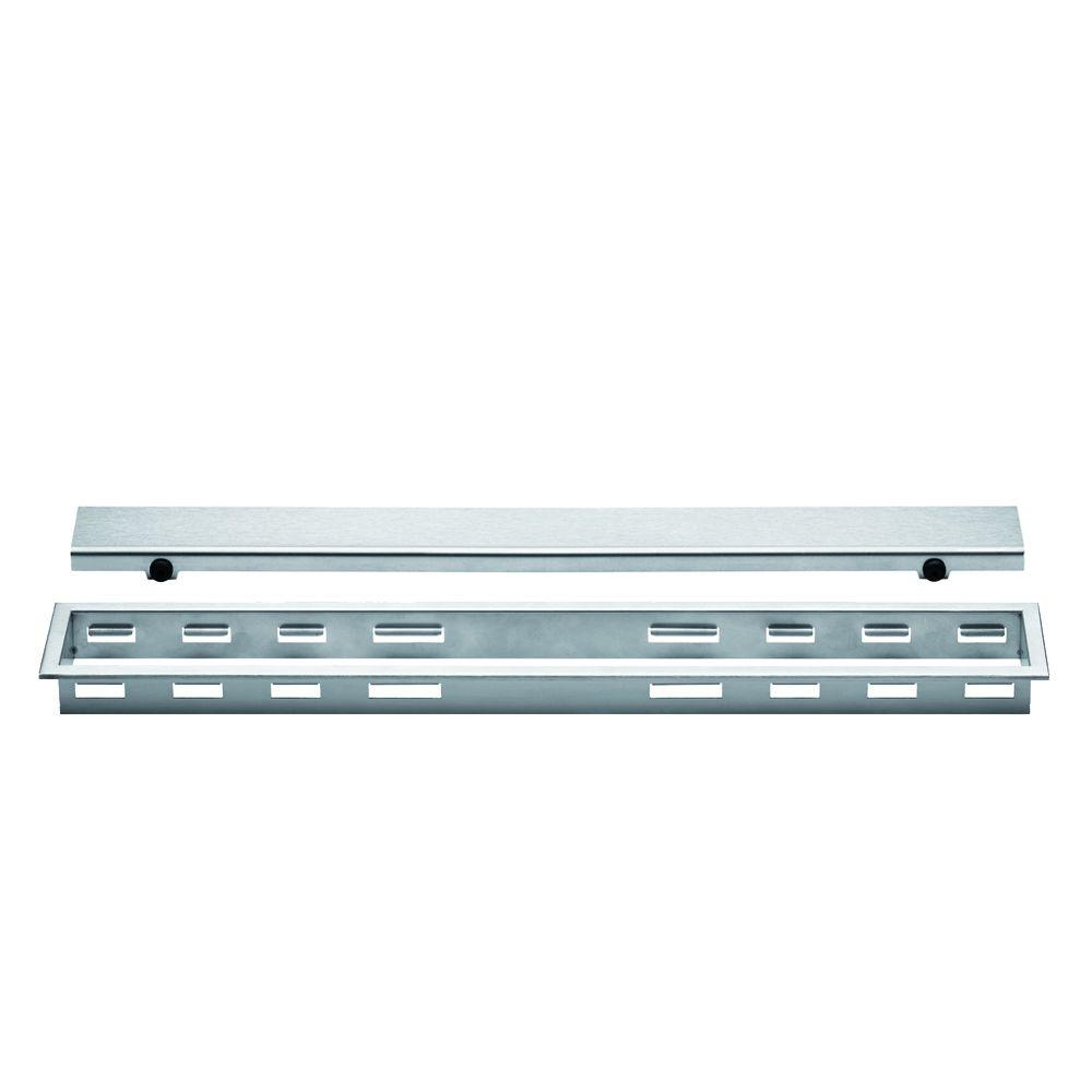 Kerdi-Line Brushed Stainless Steel 40 in. Metal Closed Drain Grate Assembly