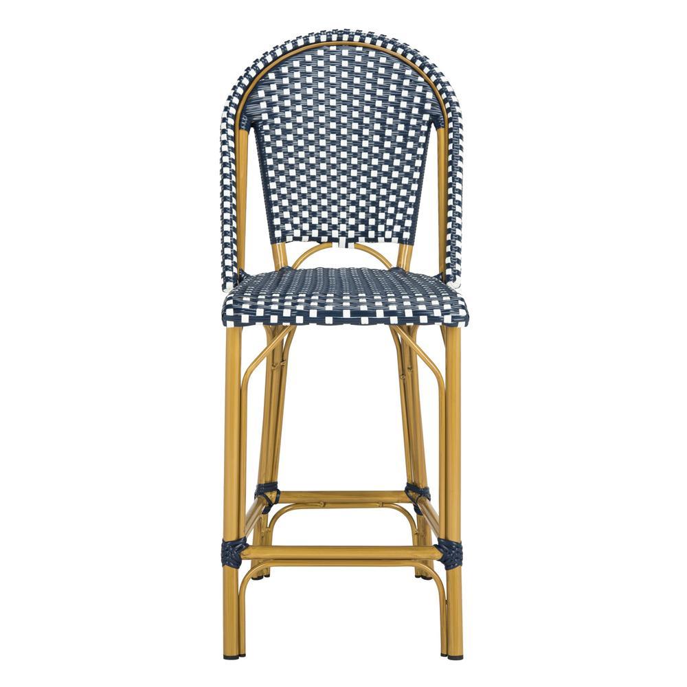 Phenomenal Safavieh Gresley Navy And White Wicker Outdoor Bar Stool Machost Co Dining Chair Design Ideas Machostcouk
