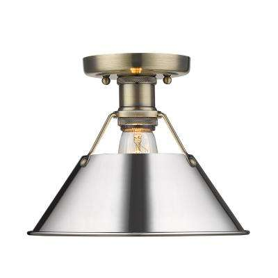 Orwell 10 in. 1-Light Aged Brass with Chrome Shade Flush Mount