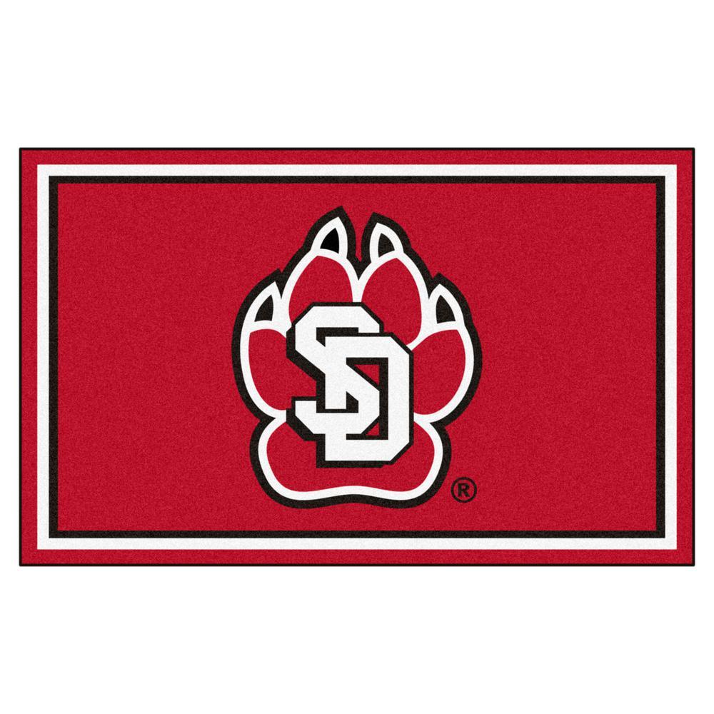 NCAA - University of South Dakota Red 6 ft. x 4 ft. Indoor Area Rug