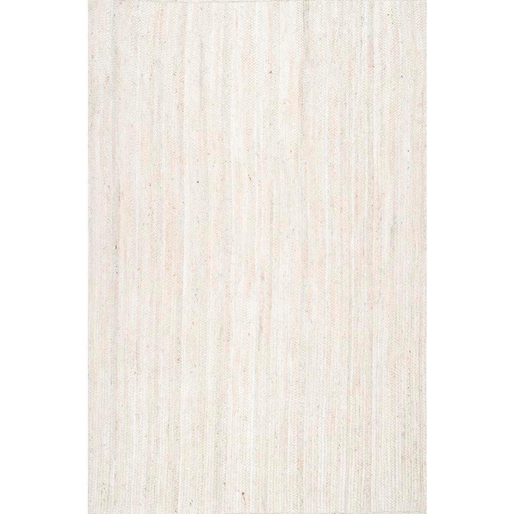 Rigo Solid Jute Off White 8 ft. x 10 ft. Area Rug