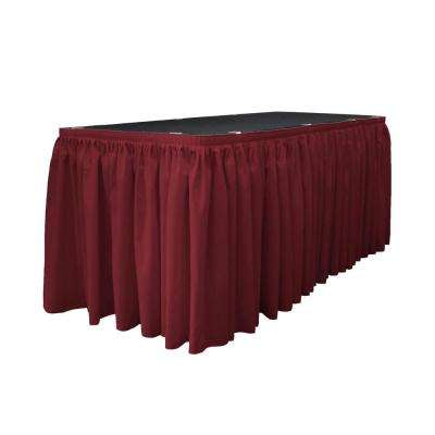 21 ft. x 29 in. Long Cranberry Polyester Poplin Table Skirt with 15 L-Clips
