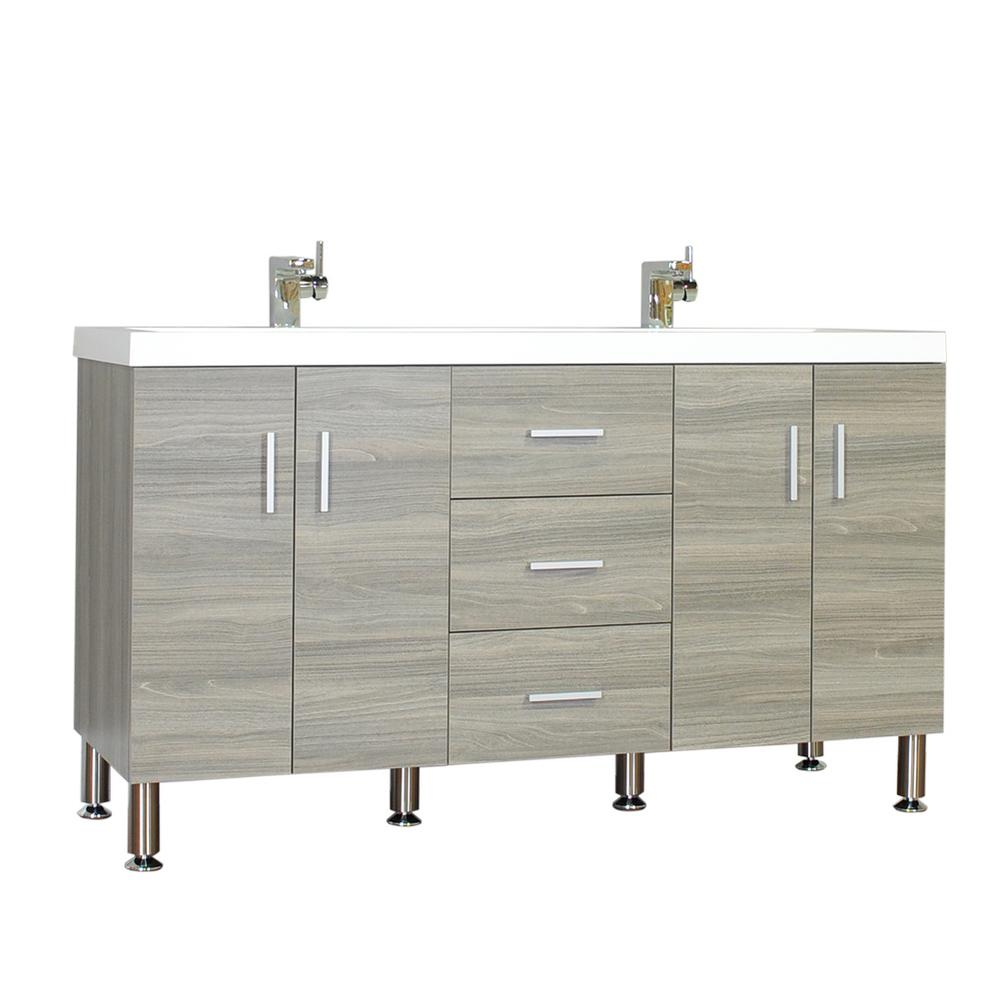 Alya At 8043 Lo 56 Double Modern Bathroom Vanity: The Modern 56.5 In. W X 19.875 In. D Bath Vanity In Gray With Acrylic Vanity Top In White With
