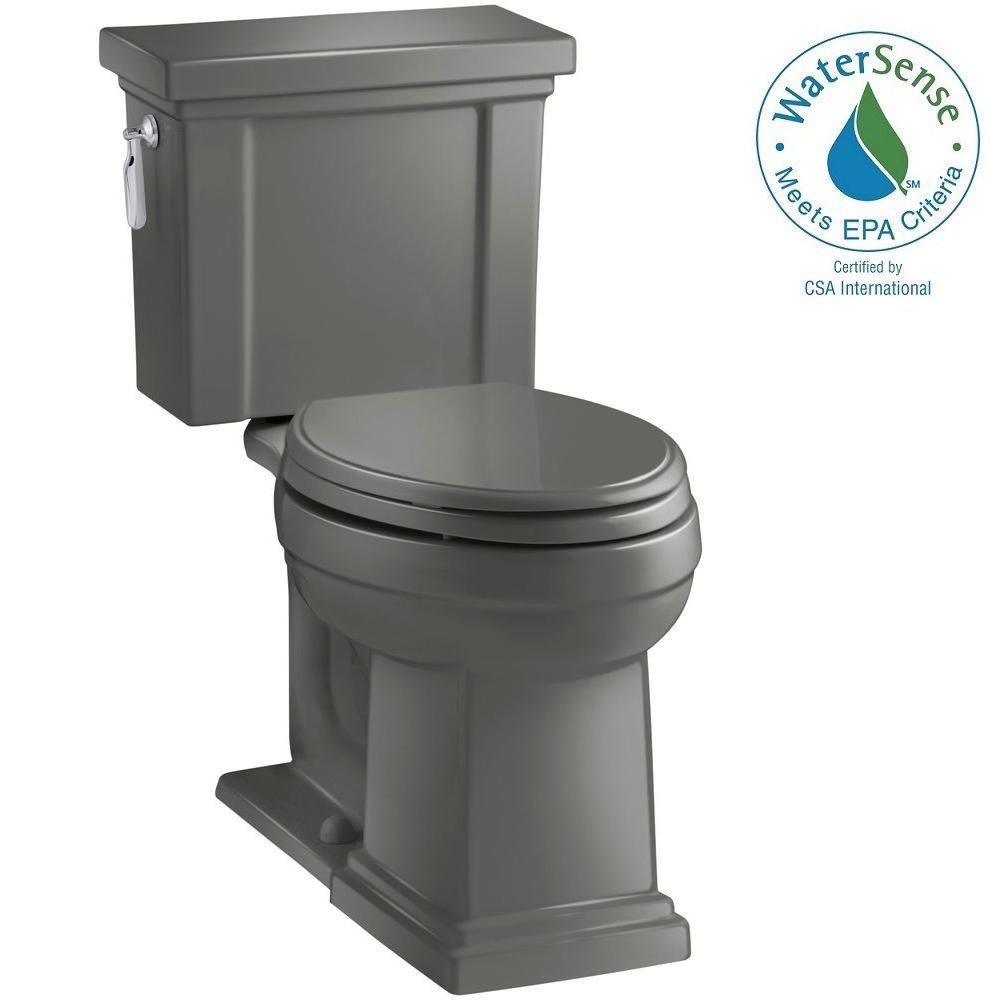 KOHLER Tresham 2-piece 1.28 GPF Elongated Toilet with AquaPiston Flush Technology in Thunder Grey