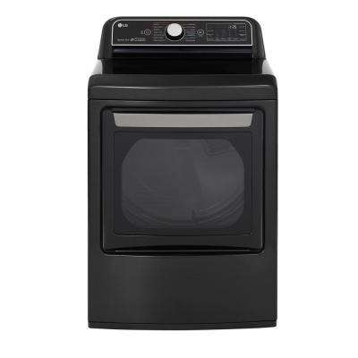 7.3 cu ft Ultra Large Smart Front Load Electric Dryer with EasyLoad Door, SensorDry & TurboSteam in Black Steel