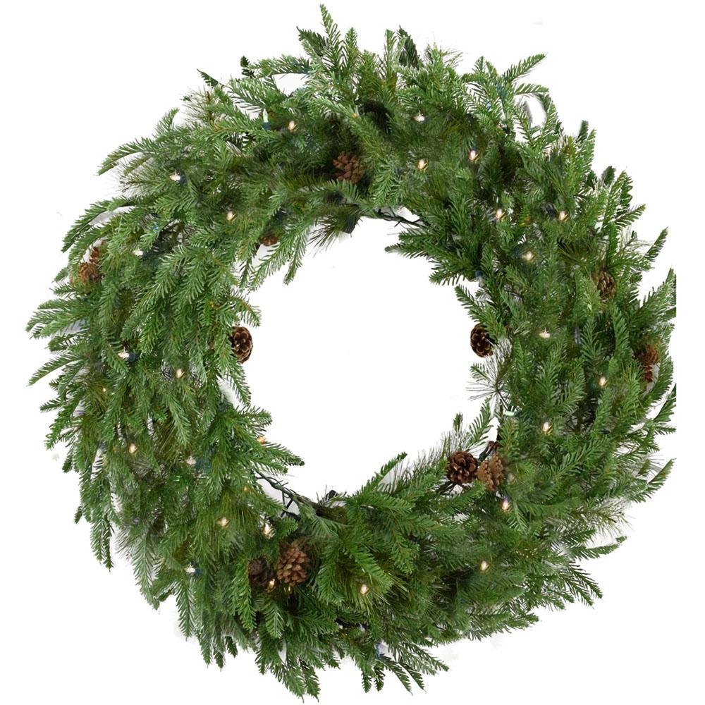 36 in. Norway Pine Artificial Holiday Wreath with Clear Battery-Operated LED