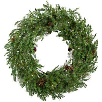 36 in. Norway Pine Artificial Holiday Wreath with Clear Battery-Operated LED String Lights