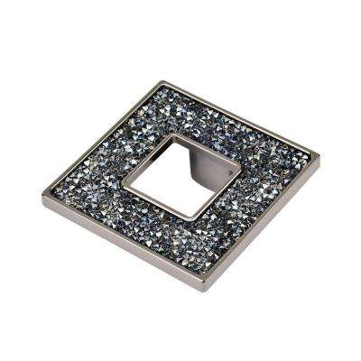Swarovski Crystal Collection 2.5 in. Black and Blue Nickel Square Cabinet Knob