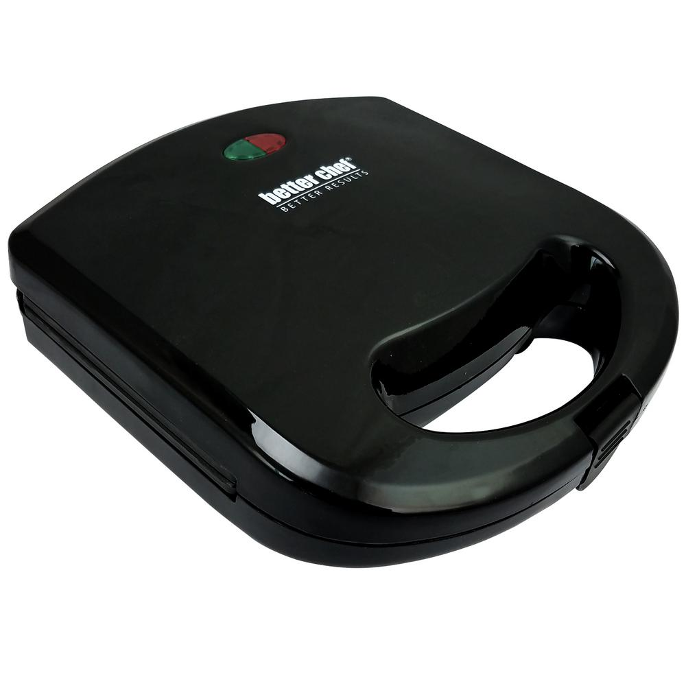 Better Chef Black Waffle Maker This perfect durable and portable Waffle maker is sleek and perfect for any kitchen. The non-stick cooking surface makes delicious waffle in minutes. It is also very easy to clean. With the power indicator and preheat light, makes it easy for you to see when the device is ready for a delicious waffle. Color: Black.