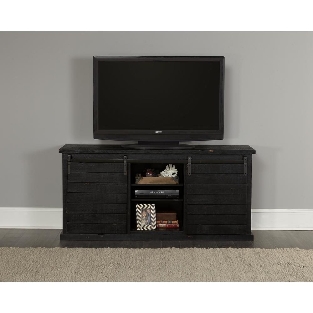 Huntington 64 in. Distressed Black Wood TV Stand Fits TVs Up to 70 in. with Storage Doors
