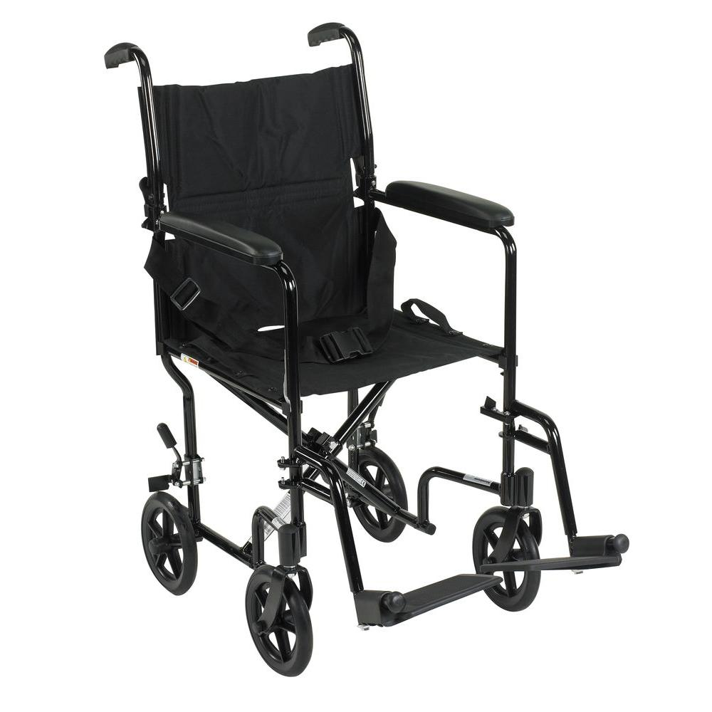 Lightweight Transport Wheelchair in Black with 17 in. Seat