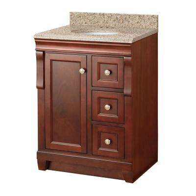 Naples 25 in. W x 22 in. D Vanity in Tobacco with Granite Vanity Top in Beige with White Sink