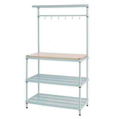MeshWorks 4-Shelf Metal Sage Green Freestanding Utility Unit