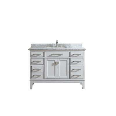 Danny 48 in. Single Bath Vanity in White with Marble Vanity Top in Carrara White with White Basin