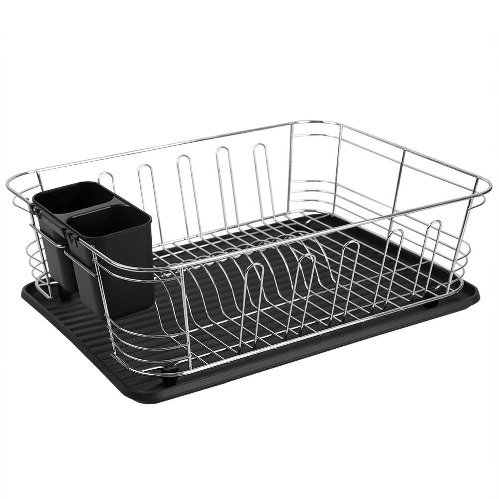e81e6d4726f2 Home Basics 3-Piece Black Dish Rack DD47836 - The Home Depot