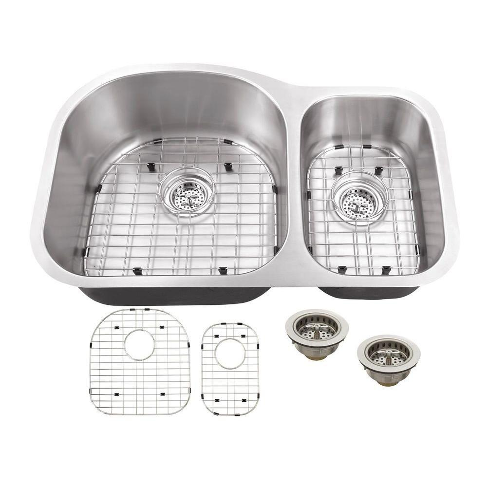 Schon All-in-One Undermount Stainless Steel 32 in. Double Bowl Kitchen Sink, Brushed Satin was $207.0 now $149.0 (28.0% off)