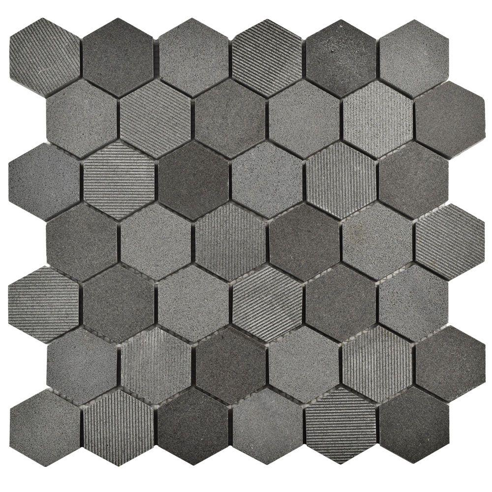 Merola Tile Structure Due Hex Black 11 3 4 In X 12 8 Mm Natural Lava Stone Mosaic Fshsdhbl The Home Depot