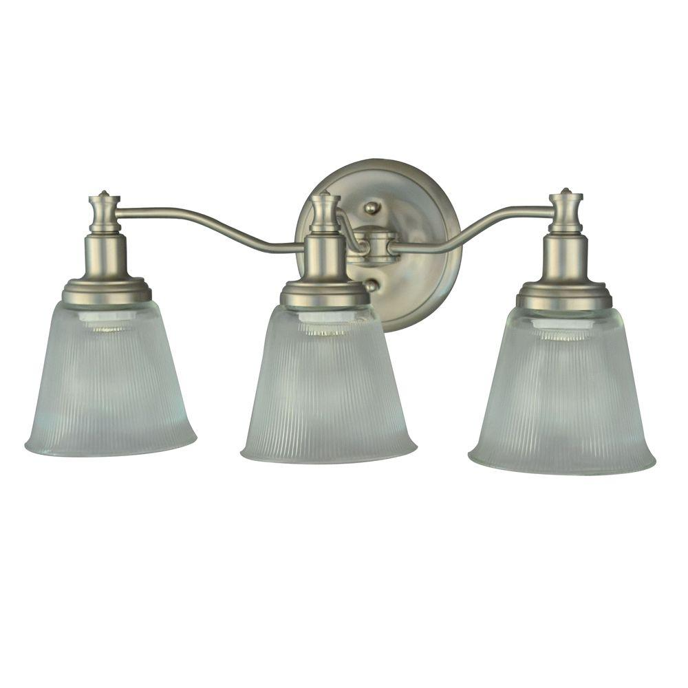 Martha Stewart Living Wayland Collection 3-Light Brushed Nickel Plated Vanity Light