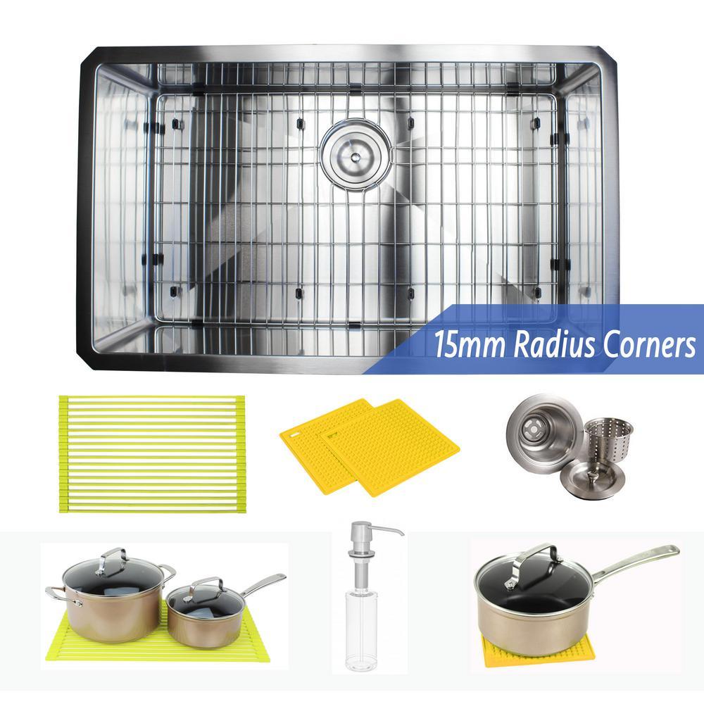Undermount 16-Gauge Stainless Steel 30 in. x 18 in. x 10 in. Single Bowl Kitchen Sink Combo