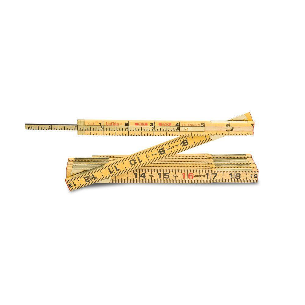 6 ft. Wood Rule Brass Extends