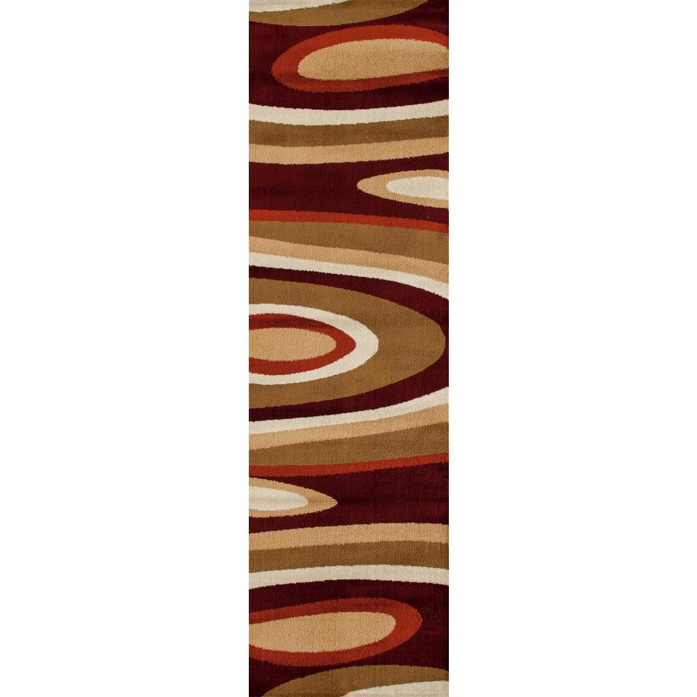 Abstract Contemporary Modern Red 2 Ft X 7 Ft Runner Rug 110
