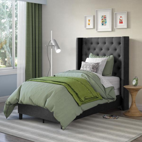 Fairfield Dark Grey Tufted Fabric Twin/Single Bed with Wings