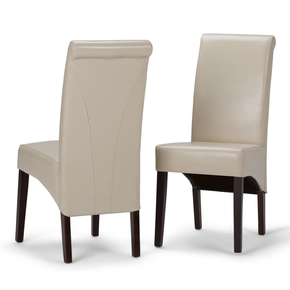Simpli Home Avalon Satin Cream Faux Leather Parsons Dining Chair (Set Of 2)