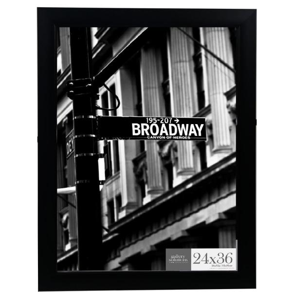 Pinnacle 24 In X 36 In Black Flat Ridged Poster Picture Frame