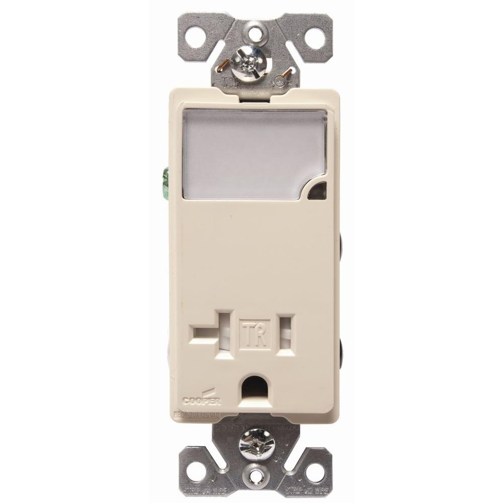 50 Amp Electrical Outlets Receptacles Wiring Devices Light Outlet 3 Wire Receptacle Combo Nightlight With Double Pole Tamper Resistant Almond