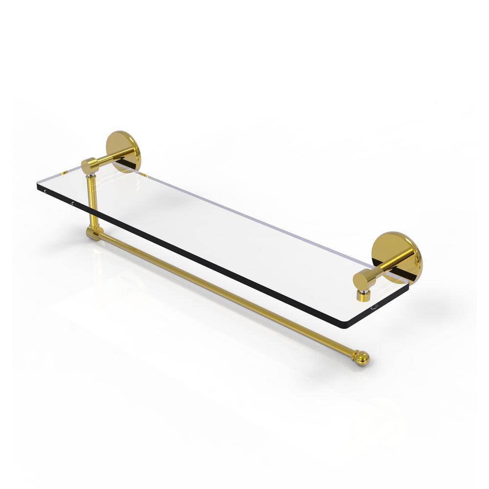 Prestige Skyline 22 in. Paper Towel Holder with Glass Shelf in Unlacquered Brass
