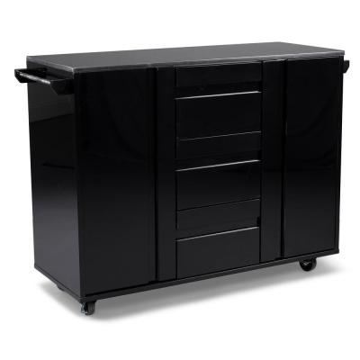 Linear Black Kitchen Cart with Black Granite Top
